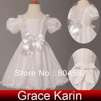 Free Shipping!Christmas!Grace Karin Puff-Sleeve Taffeta Flower Girl Princess Bridesmaid Wedding Pageant Party Dress CL4833