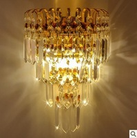 high quality luxurious crystal wall lightings bedroom lightings E14 ports christmas decoration lightings golden and silver color