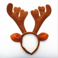 Best Price party supplies Reindeer Antler Santa Hat Christmas hat hoop Brown color Hairband Christmas decoration
