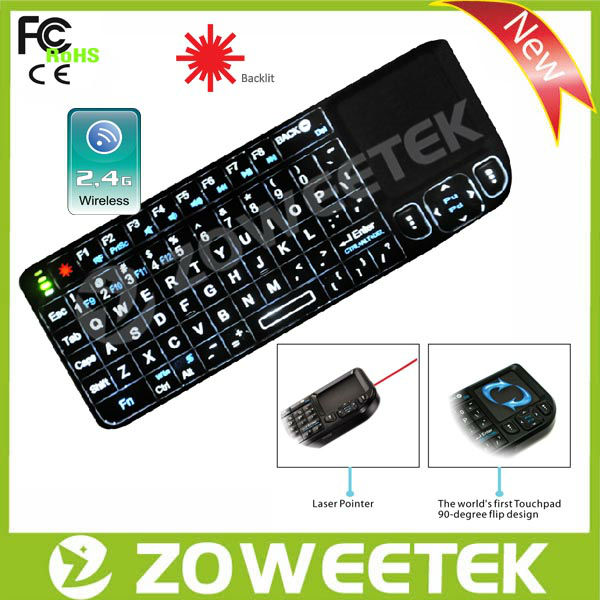 2.4G Wireless wifi QWERT full-function mini keyboard with Touchpad Laser Pointer USB(China (Mainland))