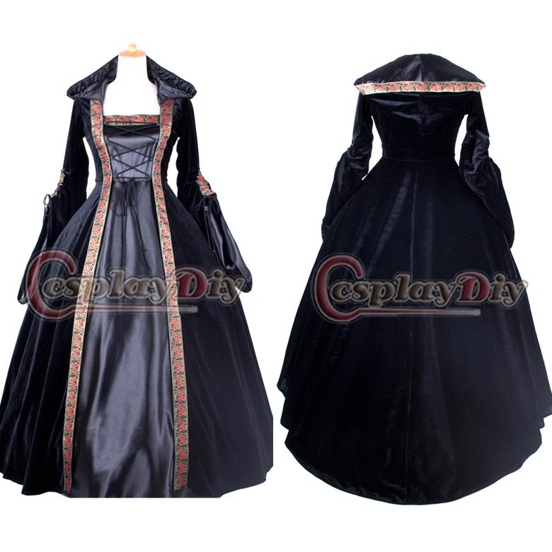 Spedizione gratuita personalizzata- made elegante velluto abito vittoriano w/cappello palla abito vestito punk gothic