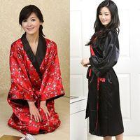 JAPAN A Two-way Women's Bathrobe Kimono Robes Housecoat Silk Satin Night Pajamas Gown