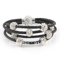 Antique Silver Sideways Charm One Direction Bead Infinity Braided Black Leather Bracelet Wristbands Xmas Gift