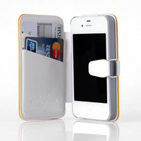 HOCO Colorful Series Genuine Leather Side Flip Book Case Cover Shell For Apple iPhone 4 4S