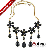 Free Shipping New Fashion Women Gold Plated Flower-shaped Colorful Charms Chunky Resin Pendant Statement Chain Necklace Jewelry