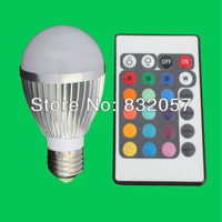 Free Shipping 3W 5W 9W E27 E14 GU10 MR16 RGB Remote Control 16 Color Change Warranty 3 Years High Lumen E27 RGB LED Bulb