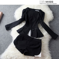 roupas femininas 2013 women's long-sleeve top pressure pleated shorts casual fashion set ropa de mujer