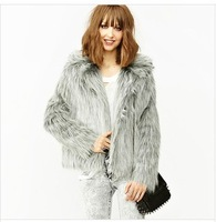 Free shipping silver fox fur collar double pocket long sleeve light gray longhaired Imitated Leather overcoats grass
