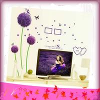 Free Shipping Wall Stickers Removing Bedroom Living Room Sofa Marriage Room Bathroom Romantic Purple Dandelion Wall Stickers