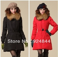 Hot-selling women's winter medium-long big moveable raccoon fur slim down overcoat Parkas jacket outwears warm coat