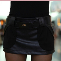 2014 new winter spring,women's chiffon skirt PU leather boots pants shorts skirts Women -0286