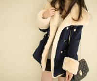 Fashion winter autumn 2014 Slim double breasted wool preppy style woolen coat outerwear down jacket long Lady Jacket Warm k257