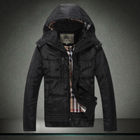 2013 men's winter fashion hooded coat jacket black men's fashion padded coat England