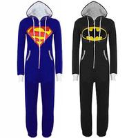 Hot Sale New Unisex Mens And Womens Onesie Superman & Batman Hooded Zip Front Jumpsuit 53376