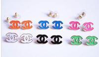 fre shipping women girls logo earrings six colour white balck blue pink orange green