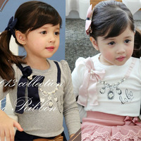 Children's clothing 2013 autumn female child baby long-sleeve basic t-shirt necklace t l