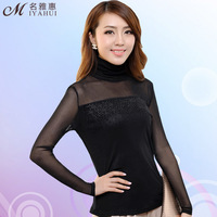 Women's T-Shirts 2013 autumn women's solid color t-shirt female long-sleeve slim plus size gauze basic shirt