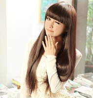 Non-mainstream wig girls qi black long straight hair bangs fluffy repair medium-long short pear Free shipping