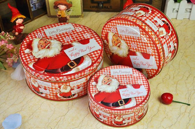 Free shipping Christmas gift box metal tin candy box cookie packaging box(China (Mainland))