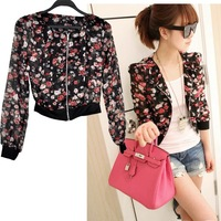 3 Colors New Arrival Women Fashion Long Sleeve Floral Print Shrug Short Jacket Chiffon Top 7339 F