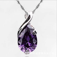925 pure silver pendants necklace platinum natural amethyst pendant women's fashion crystal accessories