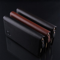 Promotional branded organizer wallet mobile phone high quality luxury men leather zip retro purse on sales free shipping