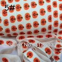 Pumpkin Fold Over Elastic - Printed FOE - 5/8 inch FOE - 50 Yards/Roll- Shiny for elastic Headbands