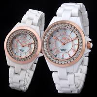 Relojes para mujeres marca famosa blanco de ceramica de cuarzo de joya  ceramic watches for couple Dia de San Valentin 8645B