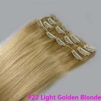 """Virgin Brazilian Factory Outlet Price 15""""-22"""" Remy Human Hair Extensions Clips In Extensions 7Pcs 70g #22"""