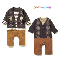 new 2013 newborn clothing sets Ling-shaped long-sleeved leotard boy modeling Romper New Arrival Free Shipping