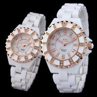 2014 flete gratis modelo nuevo bien vendido a la moda Reloj blanco de ceramica bracelet 8728A watches for women rhinestone