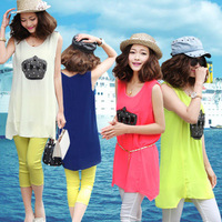 Women's vest  Sleeveless pad shoulder width chiffon shirt vest spaghetti strap basic shirt female plus size