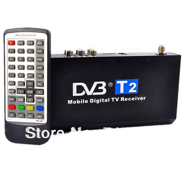 Free Shipping - Car DVB-T2 Receiver Digital TV Tuner Receiver DVB-T2 Set Top Box Mobile Digital Car DVB-T2 H.264 MPEG4 HD 1080P(China (Mainland))