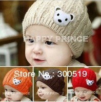 BB010 Bear Wool Solid Pattern Baby Hat Girl Boy Knitted Cap New Children Warm Winter Beanie Soft Nap Kid Hat
