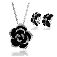 free shipping _ 925 Sterling Silver Austria crystal  necklace + earring  set  xj-tgyrJ20