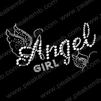 Wholesale 30Pcs/Lot Free Shipping Angle Girl Hotfix Rhinestone Transfer Crystal Iron On Motif Stones For Clothes Decoration