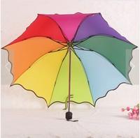 Structurein princess ruffle umbrella rainbow umbrella dexterously anti-uv