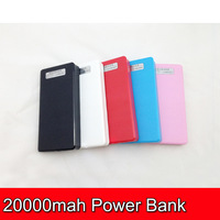 30pcs 20000mAh Big Wallet Power Bank USB Battery Charger With LED Lighting 4 Connectors Retail Box  Free Shipping