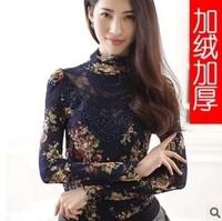 Autumn new arrival plus size clothing mm lace shirt slim chiffon shirt basic shirt top female t-shirt
