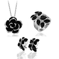 free shipping _ 925 Sterling Silver Austria crystal  necklace + ring +earring  set  xj-tgyrJ20