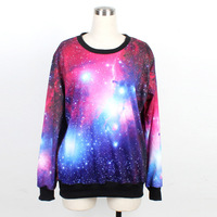 NEW Arrival Women Sweatshirts Cosmic Purple Galaxy Space Digital Print Long Sleeve Crew Neck Sky Loose Hoodies Free Shipping