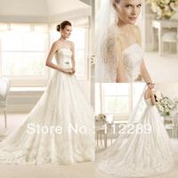 Luxury Strapless A-line Royal Train Lace Bridal Off White Wedding Dress HZ3625