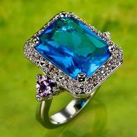 Princess Cut Silver Ring Size 8 10 R1-00354