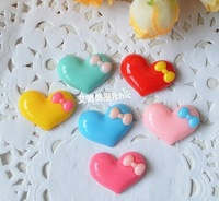 Freeshipping 22*17mm Flat back Resin Heart Cabochon for Jewelry/Hairpin Decoration DIY Wholesale 100pcs/lot  mix colors