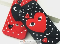 Free shipping Japanese style excellent quality CDG PLAY hard case cover for iphone 4 4s iphone 5 5S  with retail box