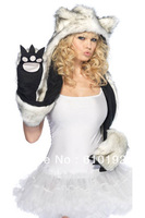Ladies Fashion Faux Fur Hat Arctic wolf Warm White & Grey Animal Cute Cap Bear Claws Hat Ear Scarf and Glove Together