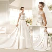Graceful Off White A-line Royal train Cinderella Wedding Dress With Slivey Beaded Sash HZ3630
