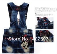 2013 Hot sell child girl denim dresses cartoon girl overalls dress summer kid garment Retail