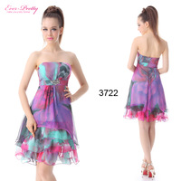 HE03722HP Ever Pretty Exquisite Strapless Diamante Printed Falbala Short Cocktail Dress