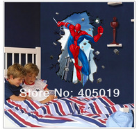 "Free Express 96x80cm (38x32"") AY8003 Spiderman 3d Wall Stickers for Kids Rooms DIY Adesivo de Parede Wall Decals Home Decoration"